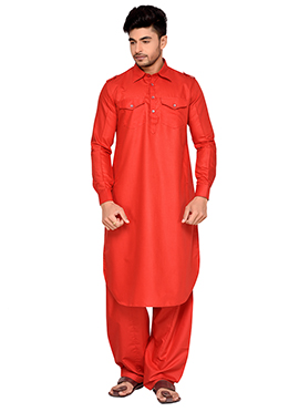 Red Art Silk Pathani Set