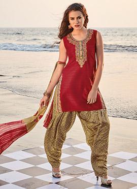 Red Art Silk Salwar Suit