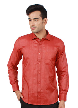 Red Art Silk Shirt