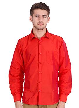 Red Art Silk Shirt