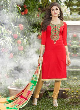 Red Art Silk Straight Pant Suit