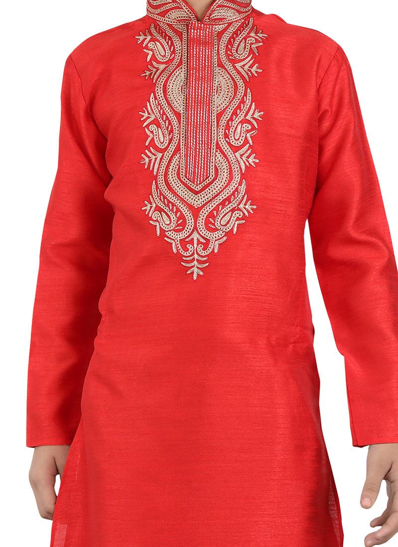 Buy Red Art Silk Teens Kurta Pyjama Embroidered Teens