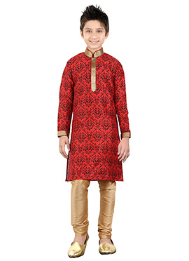 Red Art Silk Teens Kurta Pyjama