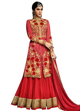 Red Art Silk Umbrella Lehenga Choli