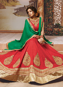 Red Art Silk Umbrella Lehenga Choli