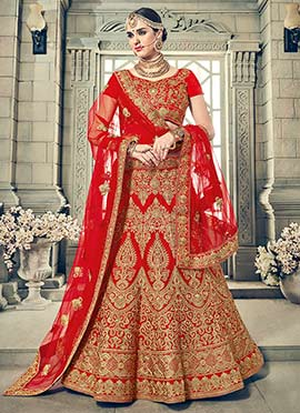 Red Art Silk Umbrella Lehenga