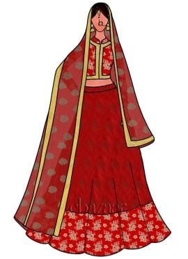 Red Art Silk Umbrella Lehenga Set