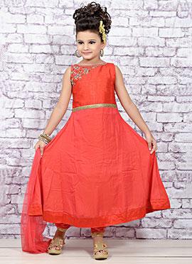 Red Art Tissue Silk Teens Anarkali Suit