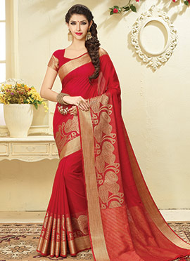 Red Art Tussar Silk Saree
