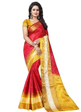 Red Art Tussar Silk Saree