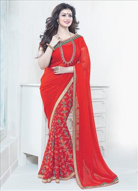 Red Ayesha Takia Half N Half Saree