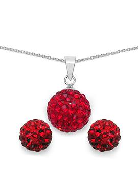 Red Crystal Stone Pendant Set