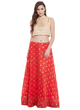 Red Banarasi Dupion Umbrella Lehanga choli