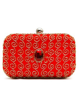 Red Beads Embellished Stylish Clutch