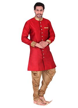 Red Benarasi Art Silk Achkan Sherwani