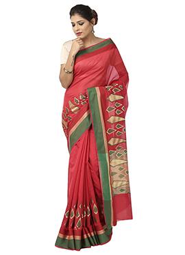 Red Benarasi Art Silk Saree