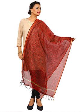 Red Benarasi Cotton Printed Dupatta