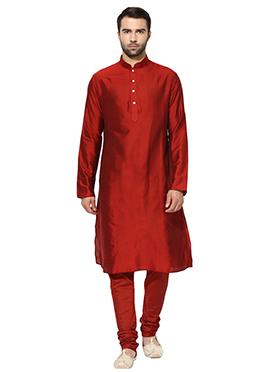 Red Benarasi Cotton Silk Kurta