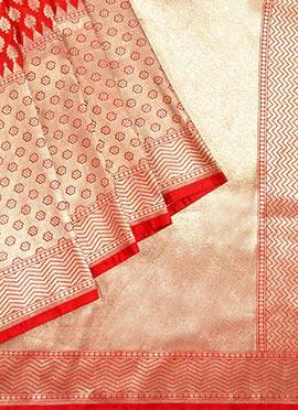 Red Benarasi Pure Handloom Silk Saree