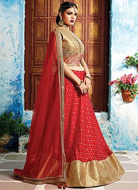 Red Benarasi Silk Umbrella Lehenga Choli