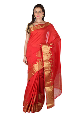 Red Benarasi Silk Border Saree