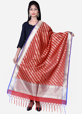 Red Benarasi Silk Dupatta