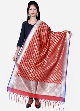 Red Benarasi Silk Dupatta