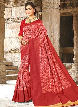 Red Bhagalpuri Art Silk Saree