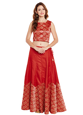 Red Bhagalpuri Art Silk Skirt Set