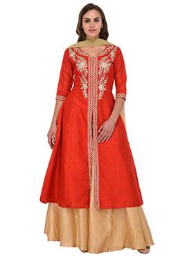 Red Bhagalpuri Art Silk Umbrella Lehenga