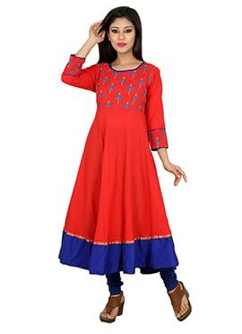 Red Blended Cotton Anarkali Kurti