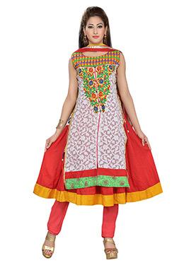 Red Blended Cotton Anarkali Suit