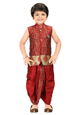 Red Blended Cotton Kids Dhoti Kurta Set