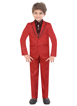 Red Blended Cotton Kids Suit