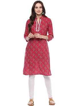 Red Blended Cotton Kurti