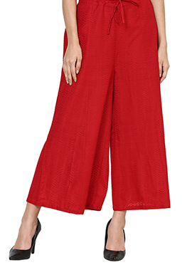 Red Blended Cotton Palazzo Pant