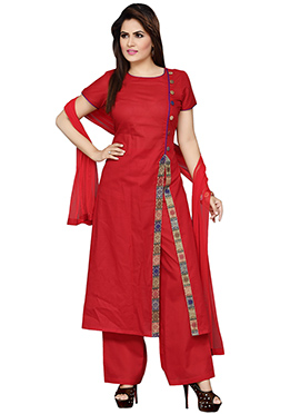 Red Blended Cotton Palazzo Suit
