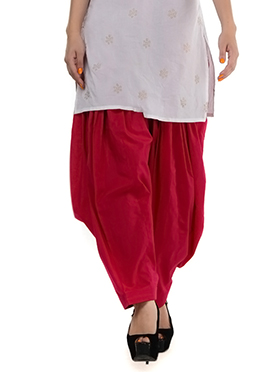 Red Blended Cotton Patiala Pant