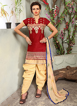 Red Blended Cotton Dhoti Suit