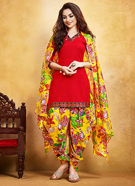 Red Blended Cotton Salwar Suit