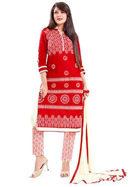 Red Blended Cotton Straight Pant Suit
