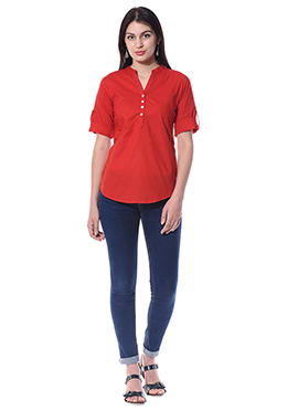 Red Blended Cotton Top