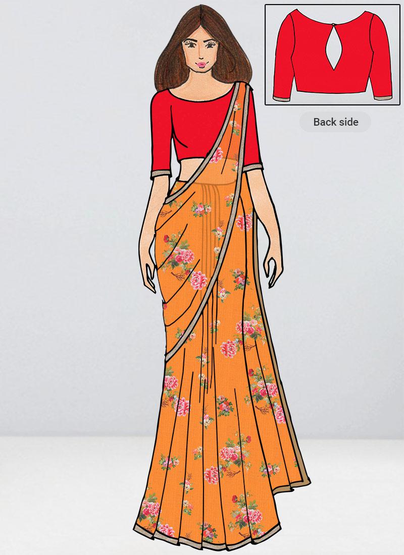Floral Saree Sari Digital Print Saree Designer Saree Indian Traditional Yellow Organza Saree and Blouse Combo Party Wear Sari for Women
