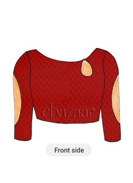 Red Boat Neck Brocade Blouse