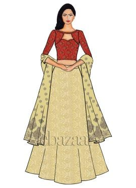 Red Boat Neck Embroidered Lehenga Set
