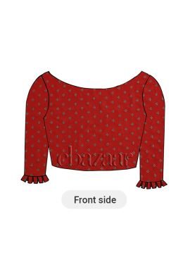 Red Box Pleated Blouse