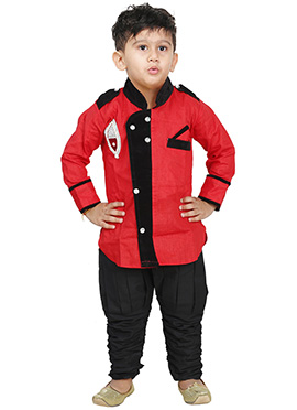 Red Breeches Style Kurta Pyjama