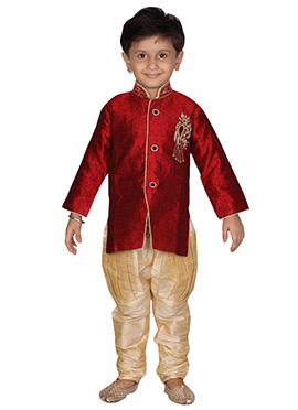 Red Breeches Style Kurta Pyjama