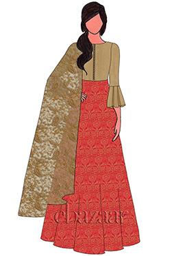 Red Brocade Abaya Style Anarkali