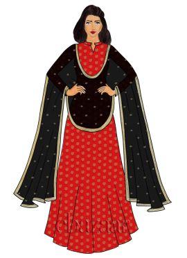 Red Brocade Abaya Style Anarkali Suit